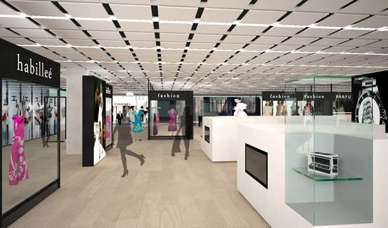 2nd floor with feshion boutiques